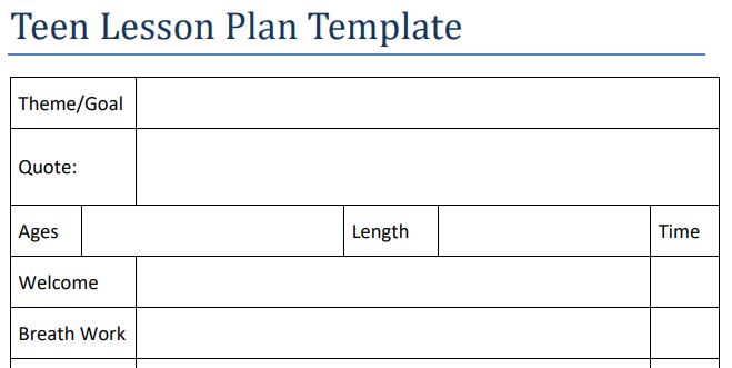 Teen Yoga Lesson Plan Template