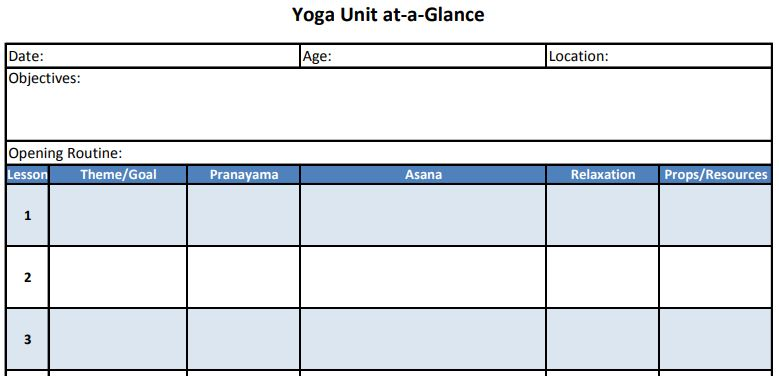 Teaching Made Easy: Yoga Unit at a Glance